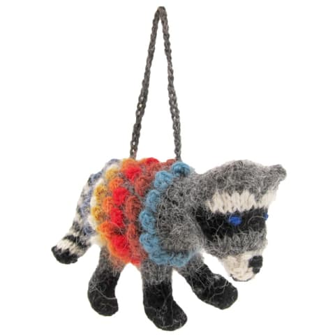 CRK059A Racoon - Knitted Ornament