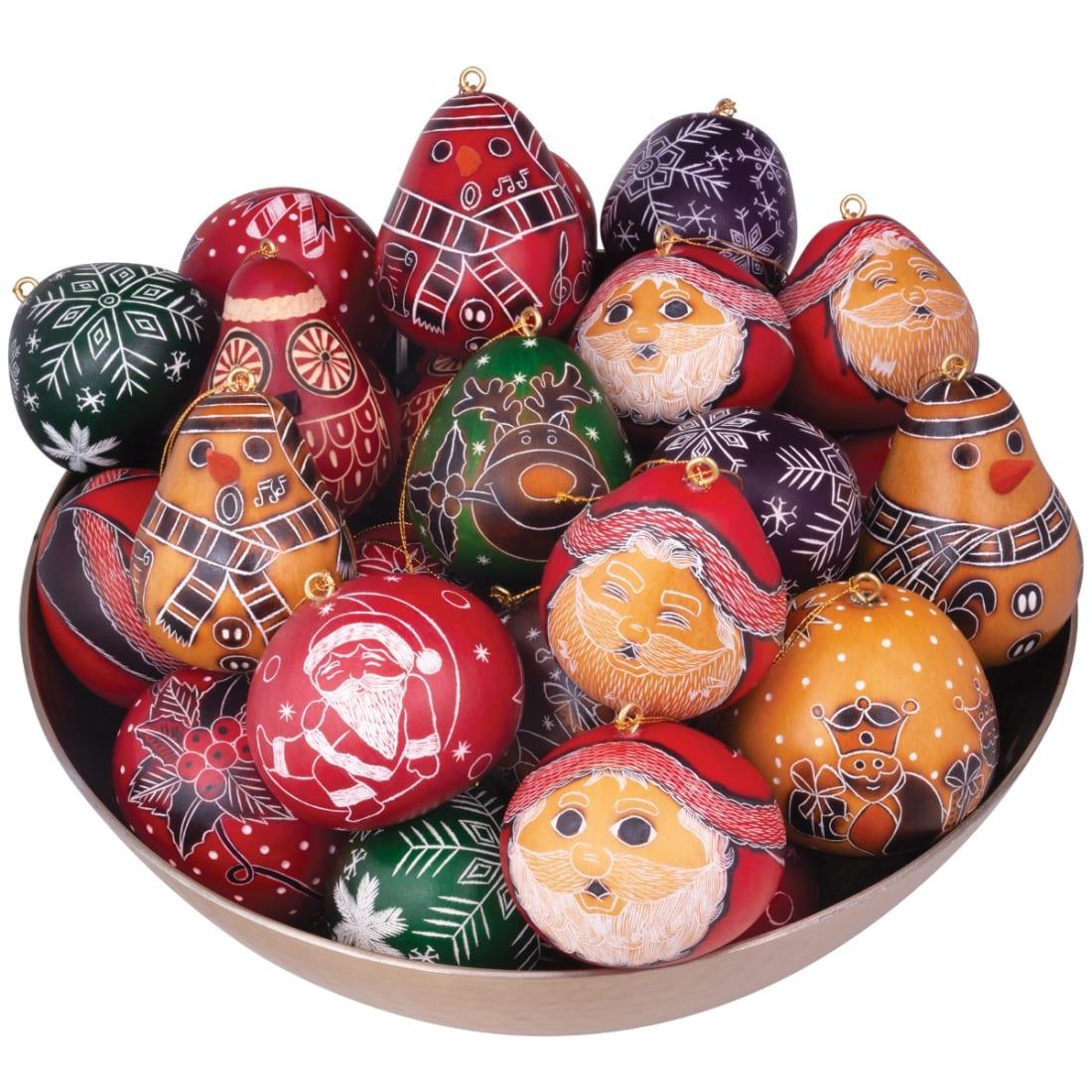 CRG055P mini christmas mix gourd ornaments