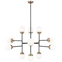Cafe Twelve Light Large Chandelier Satin Brass