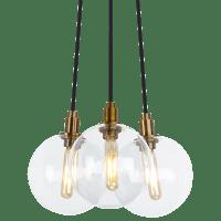 Gambit 3-Light Chandelier 3-LITE CHANDELIER Clear Aged Brass no lamp