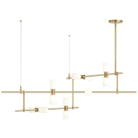 ModernRail Chandelier 2 Glass Cylinders Aged Brass 3000K 90 CRI 24v surface canopy