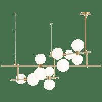 ModernRail Chandelier 2 Glass Orbs Aged Brass 3000K 90 CRI 24v remote canopy (t24)