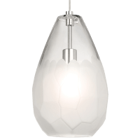 Briolette Grande Pendant Frost Satin Nickel No Lamp