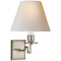 Dean Single Arm Sconce in Brushed Nickel with Natural Paper Shade