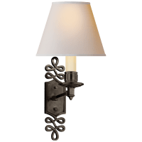 Ginger Single Arm Sconce in Gun Metal with Natural Paper Shade