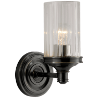 Ava Single Sconce in Bronze with Crystal
