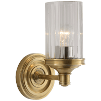 Ava Single Sconce in Hand-Rubbed Antique Brass with Crystal