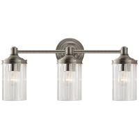 Ava Triple Sconce in Antique Nickel with Crystal