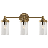 Ava Triple Sconce in Hand-Rubbed Antique Brass with Crystal