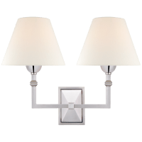 Jane Double Sconce in Polished Nickel with Linen Shade