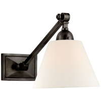 Jane Single Library Wall Light in Gun Metal with Linen Shade