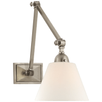 Jane Double Library Wall Light in Antique Nickel with Linen Shade