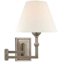 Jane Swing Arm Wall Light in Antique Nickel with Linen Shade