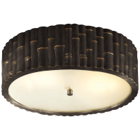 Frank Large Flush Mount in Gun Metal with Frosted Glass