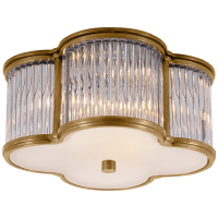 Basil Small Flush Mount in Natural Brass and Clear Glass Rods with Frosted Glass