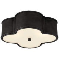 """Basil 17"""" Flush Mount in Gun Metal with Frosted Glass"""