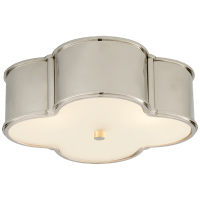 """Basil 17"""" Flush Mount in Polished Nickel with Frosted Glass"""