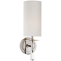 Drunmore Single Sconce in Polished Nickel and Crystal with Linen Shade