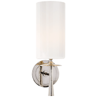 Drunmore Single Sconce in Polished Nickel with White Glass Shade