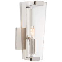 Alpine Small Single Sconce in Polished Nickel with Clear Glass