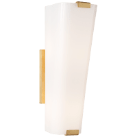 Alpine Single Sconce in Hand-Rubbed Antique Brass with White Glass