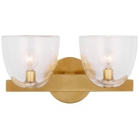 Carola Double Sconce in Hand-Rubbed Antique Brass with Clear Glass