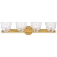 Carola 4-Light Bath Sconce in Hand-Rubbed Antique Brass with Clear Glass