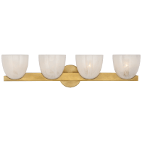 Carola 4-Light Bath Sconce in Hand-Rubbed Antique Brass with White Strie Glass