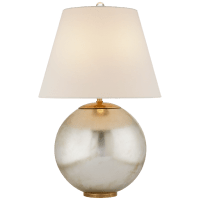 Morton Table Lamp in Burnished Silver Leaf with Linen Shade