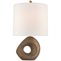 Paco Large Table Lamp in Chalk Burnt Gold with Linen Shade