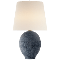 Toulon Table Lamp in Beaded Blue with Linen Shade