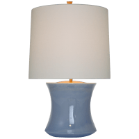 Marella Accent Lamp in Polar Blue Crackle with Linen Shade