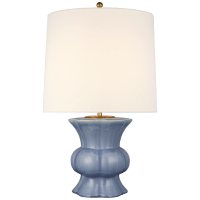 Lavinia Medium Table Lamp in Polar Blue Crackle with Linen Shade
