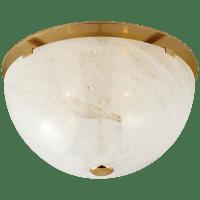 Serein Medium Flush Mount in Hand-Rubbed Antique Brass with White Strie Glass