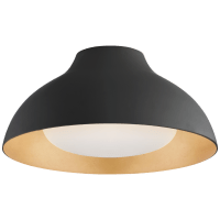 """Agnes 15"""" Flush Mount in Matte Black with Soft White Glass"""