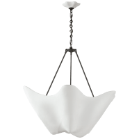 Cosima Large Chandelier in Bronze with Plaster White Shade