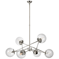 Turenne Large Dynamic Chandelier in Polished Nickel with Clear Glass