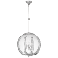 Gisela Large Globe Pendant in Polished Nickel with Seeded Glass