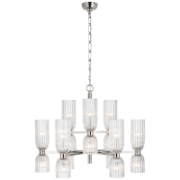 Asalea Medium Two-Tier Chandelier in Polished Nickel with Clear Glass