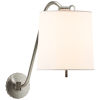 Understudy Sconce in Soft Silver with Silk Shade