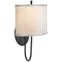 Simple Scallop Wall Sconce in Bronze with Silk Shade
