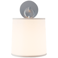 French Cuff Sconce in Soft Silver with Silk Shade