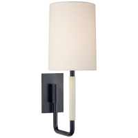 Clout Small Sconce in Bronze with Linen Shade