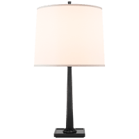 Petal Desk Lamp in Bronze with Bronze Mirror Base and Silk Shade
