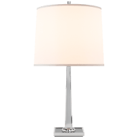 Petal Desk Lamp in Soft Silver with Smoke Mirror Base and Silk Shade