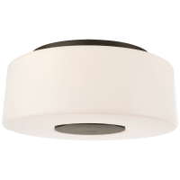 Acme Large Flush Mount in Bronze with White Glass