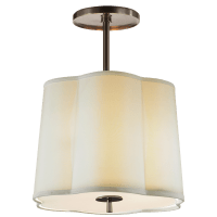 Simple Scallop Hanging Shade in Bronze with Silk Shade