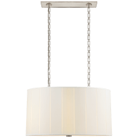Perfect Pleat Oval Hanging Shade in Soft Silver with Silk Shade