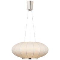 Paper Moon Medium Hanging Shade in Polished Nickel with Rice Paper Shade
