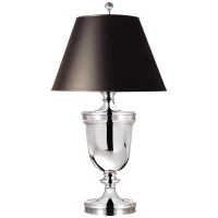 Classical Urn Form Large Table Lamp in Polished Silver with Black Shade